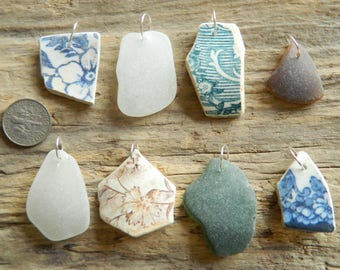8 Drilled Sea pottery and sea glass pendant Pieces With 10 mm silver plated Jump Rings
