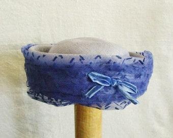 Chic Blue Pill Box vintage ladies chapeau dress hat