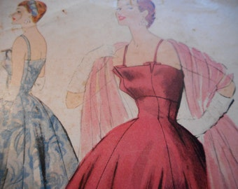 Vintage 1950's McCall's 3001 Evening Dress Sewing Pattern, Size 14 Bust 32