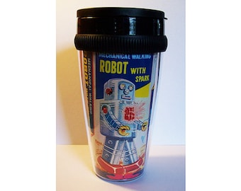 robot travel mug retro vintage Fifties tin toy outer space pin up coffee cup kitsch
