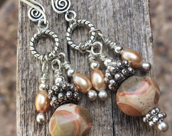 Earrings, Camo Agate Stones, Wire Wrapped Flux Tan Pearls, Sliver Tone Accent Spacers, Silver Tone Balls, Swirl Ear Wire, Free Shipping #83