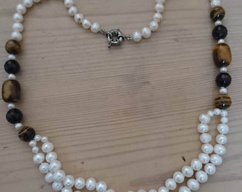 Vintage real Pearl and tigerseye bead necklace