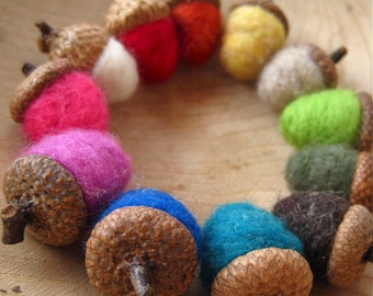 rainbow felted wool acorns set of 12 / natural eco friendly table and wedding decor