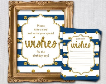 Navy and Gold First Birthday Wish Card and Display Sign, Instant Download Printable Digital File, 1220