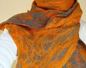 cobweb felted scarf -vitamin orange-