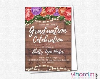 Wood Roses & Sparkles Graduation Invitations - PRINTABLE High School or College Graduation Invitation | floral flower country rustic