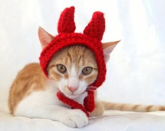 Devil Cat Hat, Devil Pet Costume, Devil Horns for Cats, Devil Costume for Small Dogs, Halloween Cat Costume, Funny Pet Costume
