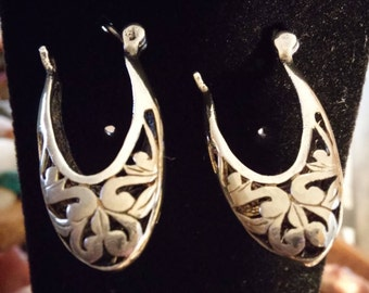 Sterling Silver Cutout Earrings