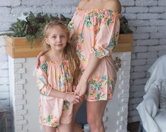 Blush Matching Rompers - Off shoulder Dreamy Angel Song Baby Mommy Rompers, Floral pattern, Twinning, Mommy baby matching, Mini me
