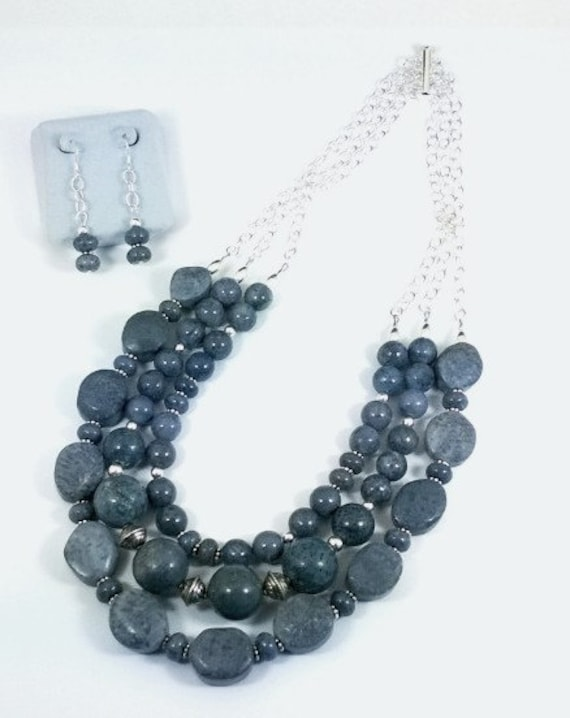 Blue Fossil Coral Necklace & Earrings