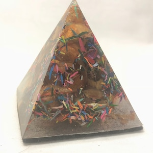 Colored Pencil Shaving Pyramid Paperweight