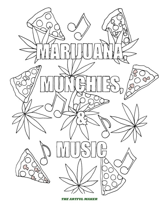 Marijuana munchies music adult coloring pages by the for Coloring pages weed