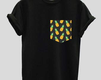 Cartoon Pineapples Print Pocket T-shirt Shirt Top Tee Hipster Indie Swag Dope Hype Black White Mens Womens Cute Fruit Pocket Shirt