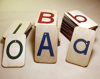"""Sandpaper Letters, Uppercase, Lowercase and Numbers 0-10 mounted on 3""""x5""""Birch - Montessori"""