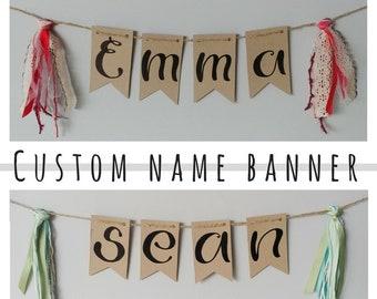 CUSTOM NAME- kraft handlettered bunting banner custom name and shabby tassels- handmade upcycled kids room decor- up to 10 letters