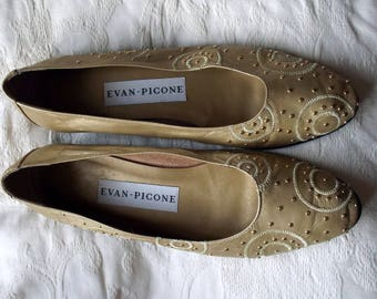 Evan Picone gold soft leather studded ballerina pumps (UK size 6 approximately)