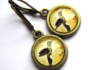 Sepia Bird Dangle Earrings Hummingbird Fashion Jewelry