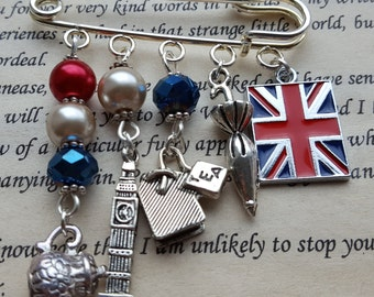 A Rainy Afternoon Tea In London Silver, Red White And Blue Brooch, Jacket Pin, Badge, Scarf Pin, Kilt Pin, Accessory, London Theme, UK Theme