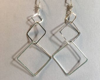 Dangly square sterling silver earrings