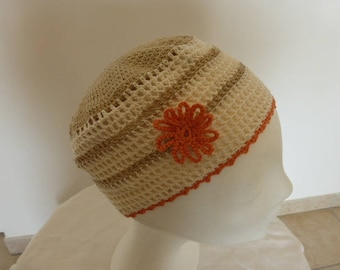 summer Hat retro 100% cotton, mesh and flower side