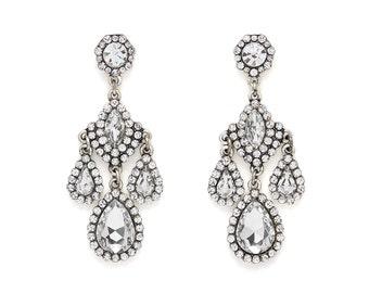 Eternal Fire Crystal Silver Vintage Chandelier Earrings, Vintage Chandelier Earrings, Bridesmaid Earrings, Wedding Earrings, Bridal Earrings
