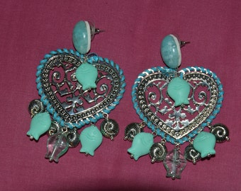 drop earrings heart shaped with turquoise charms