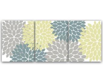 Bon Home Decor Art INSTANT DOWNLOAD Grey Teal Flower Burst Art Bathroom Wall  Art Bedroom Decor Set