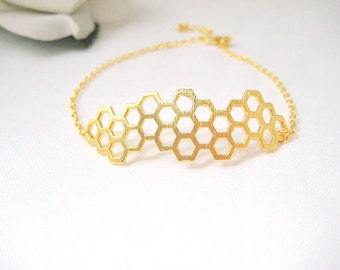 Honey comb Bracelet Geometric Bracelet  Beehive Bracelet Nature Bracelet Birthday Gift Gold Bracelet