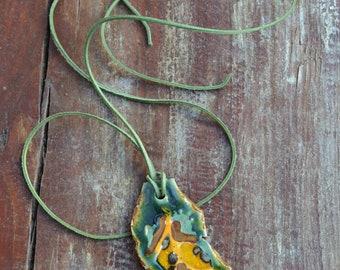 Handmade Ceramic Leaf Pendant Necklace- leaf shape, green, yellow, floral, natural, leather