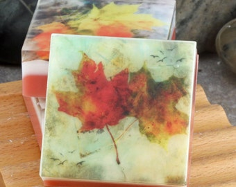 Graphic Art Soap - Fall Leaves - Set of 3 Guest Size Soaps in a Fresh Apple Scent, Themed Glycerin Soap