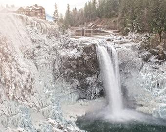 Winter freeze Snoqualmie Falls