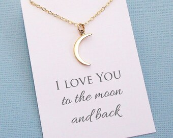 Boho Moon Necklace | Half Moon Necklace, Crescent Moon Dainty Necklace, Wife Birthday, Wives Gift, Boho Gift Wife, Wife Gift | L02