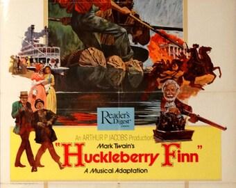 "Huckleberry Finn.1974 Original 27""x41""US Movie Poster.Mark Twain Musical Movie.Jeff East(Huck),Harvey Korman,Paul Winfield(Jim),David Wayne."