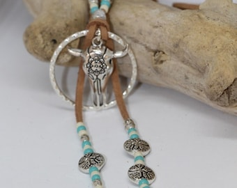 White & chocolate Turquoise ethnic necklace