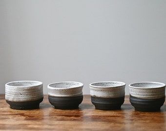 Black & white tea bowl, Rustic handmade chawan, matcha bowl, Yuko collection, black clay, white melted snow glaze.