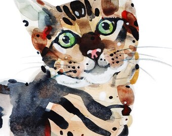 """Whiskers, watercolor Giclee Print, 9x12"""""""