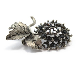 Antique Silver Pom Pom Flower Brooch with Swarovski Crystals