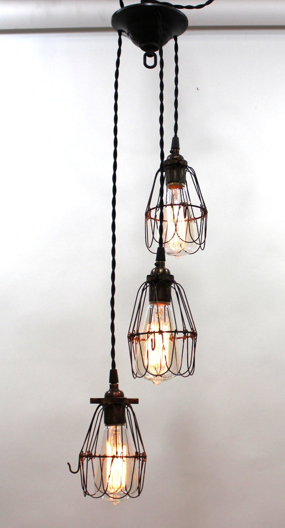 items similar to industrial style multi cage light pendant on etsy