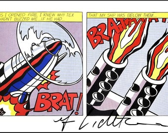 ROY LICHTENSTEIN - 'As I opened fire' - hand signed vintage print - c1992 (Andy Warhol, Pop art interest)