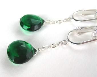 Emerald Green Teardrop Earrings, Silver Dangle Clip-on Earrings, Green Quartz Briolette Clipons, Handmade, Aerie Emerald