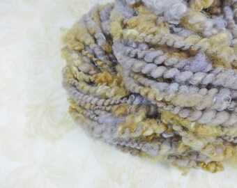Handspun Art Yarn Bulky Coil Spun Lavender Honey 36 yards light purple gold