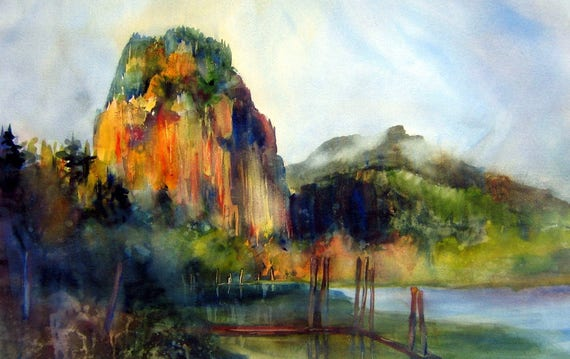 Beacon Rock - signed print - Columbia Gorge - watercolor painting by Bonnie White