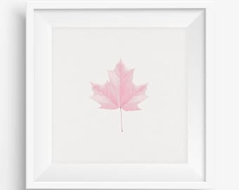 Pink Leaf Printable Wall Art, Instant Download, Spring Wall Art, Pink Wall Decor, Nursery Decor, Gift for Her, Floral Wall Art Printable