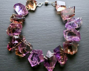 Ametrine Necklace - Giant Stones, Sterling Silver Mountings - Amethyst Citrine