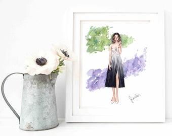 Original Fashion Illustration -Blog Blogger Fashionista Watercolor Dress Sketch by Jianlin on Etsy