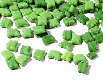 Lot (124) 10mm Czech vintage mixed jadeite green molded butterfly glass beads