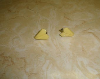 vintage clip on earrings yellow lucite heart