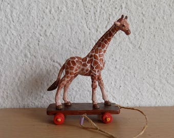 Dollhouse Miniature Giraffe Pull Toy, 1:12 scale, Toy for Dollhouse, Inch Scale Miniature, Dollhouse Miniature Toy