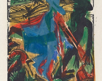 20th Century Expressionism:  The little man mocks him as he walks alone past shadows.. 1916 by Ernst Kirchner.  Fine Art Print Reproduction.