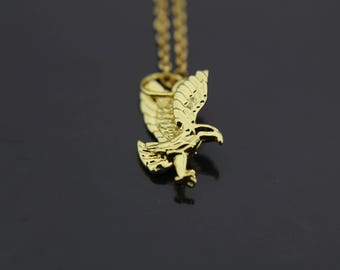 Flying Eagle Necklace Spirit of Eagle Gift Gold Eagle Charm Necklace Eagle Bird Charm Spirit Gift Personalized Necklace